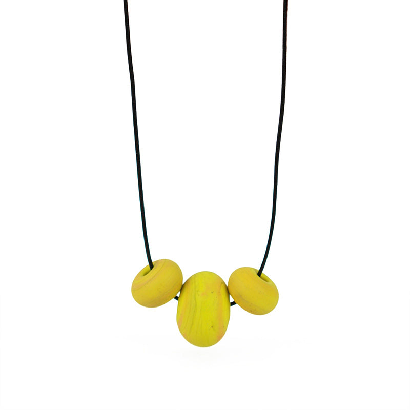 Bubble bead trio necklace -yellow ochre