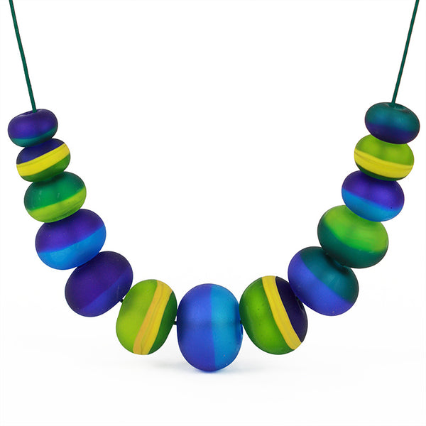 Soft stripes necklace -blue, green and ochre