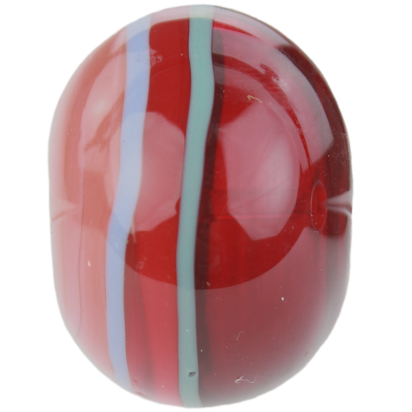 Orange, red and blue striped bead