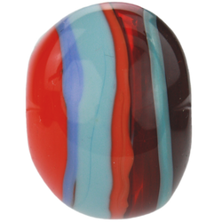 Red, orange and blue striped bead 2