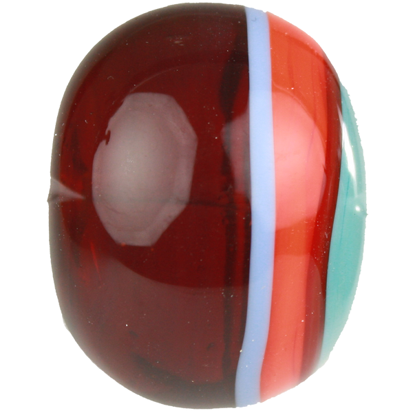 Red, orange and blue striped bead 3