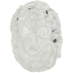 Clear and white bead with swirls