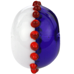 Half blue and white bead with red dots