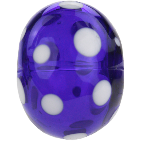 Transparent dark blue bead with white dots