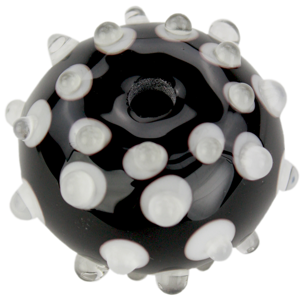 Black and white bead with fancy dots
