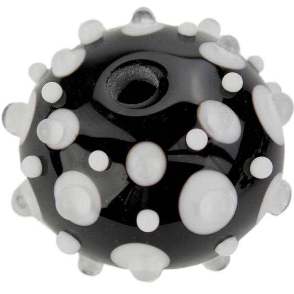 Black and white bead with fancy dots 2