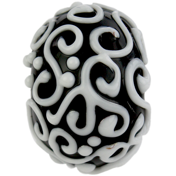 Black and white bead with swirls