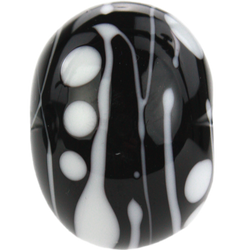 Black and white bead with stripes and dots
