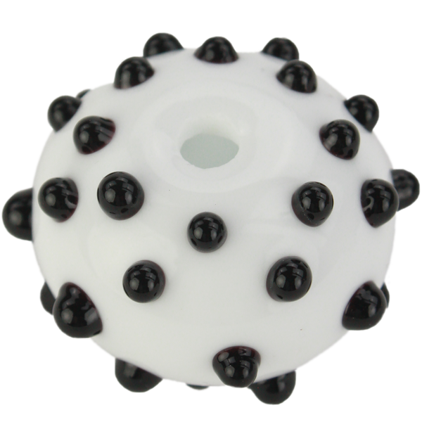 White bead with black dots