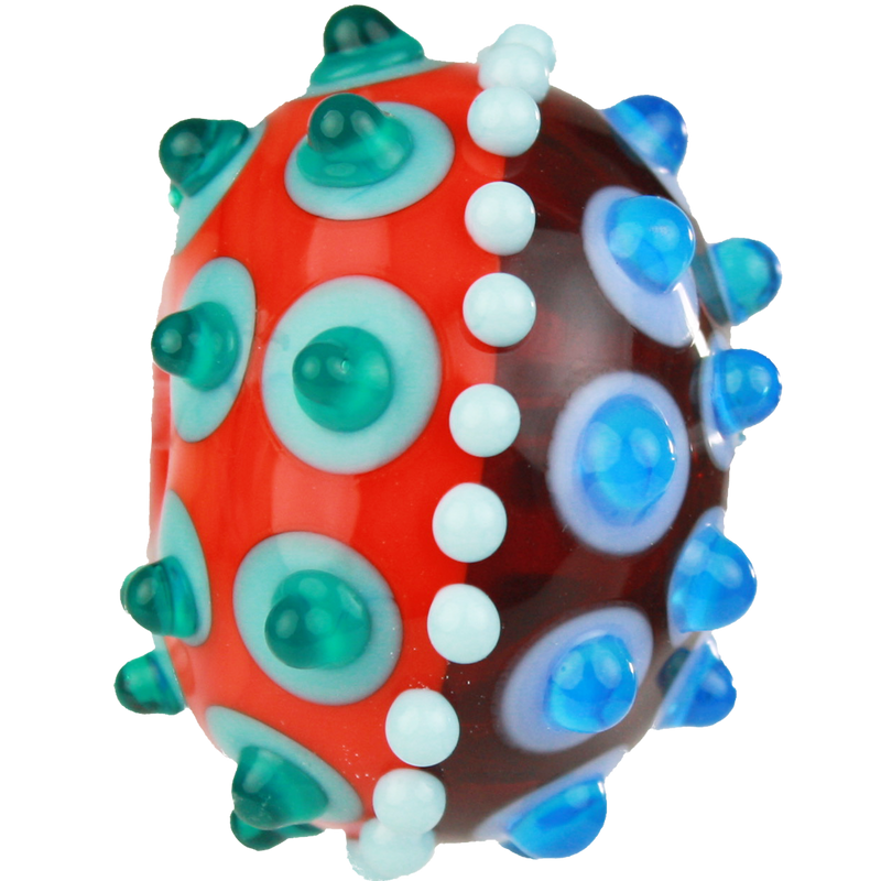 Red, orange and blue bead with fancy dots