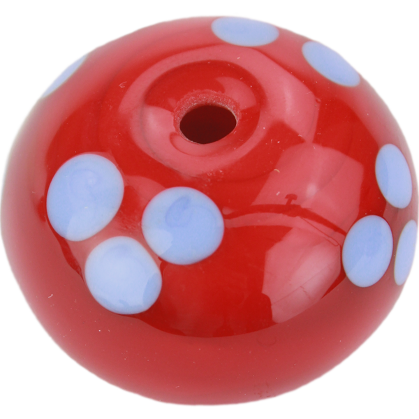 Red bead with blue dots