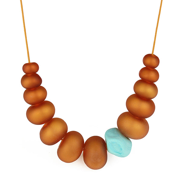 Bubble and nugget necklace -amber and turquoise