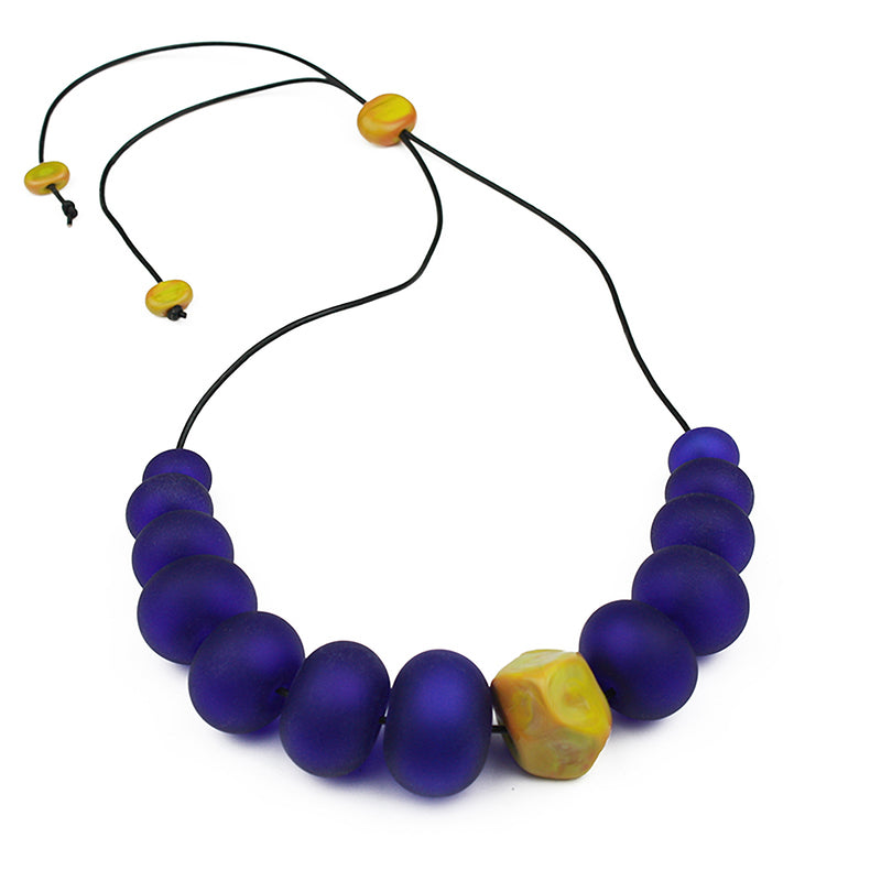 Bubble and nugget necklace - cobalt and ochre yellow