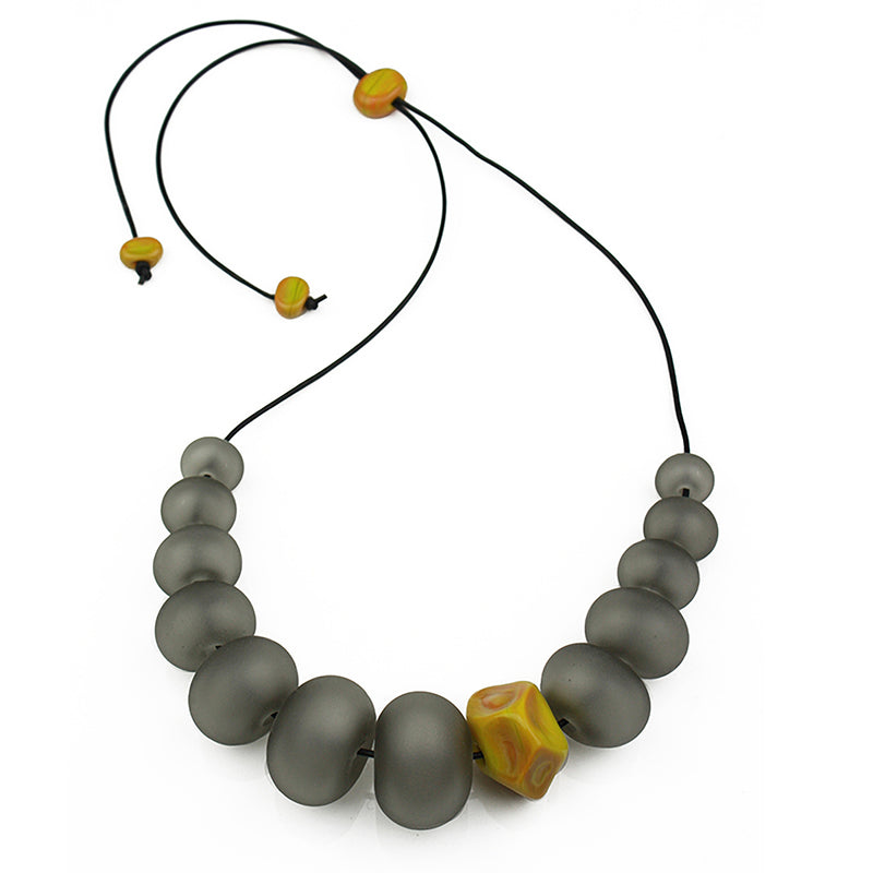 Bubble and nugget necklace - grey and ochre yellow