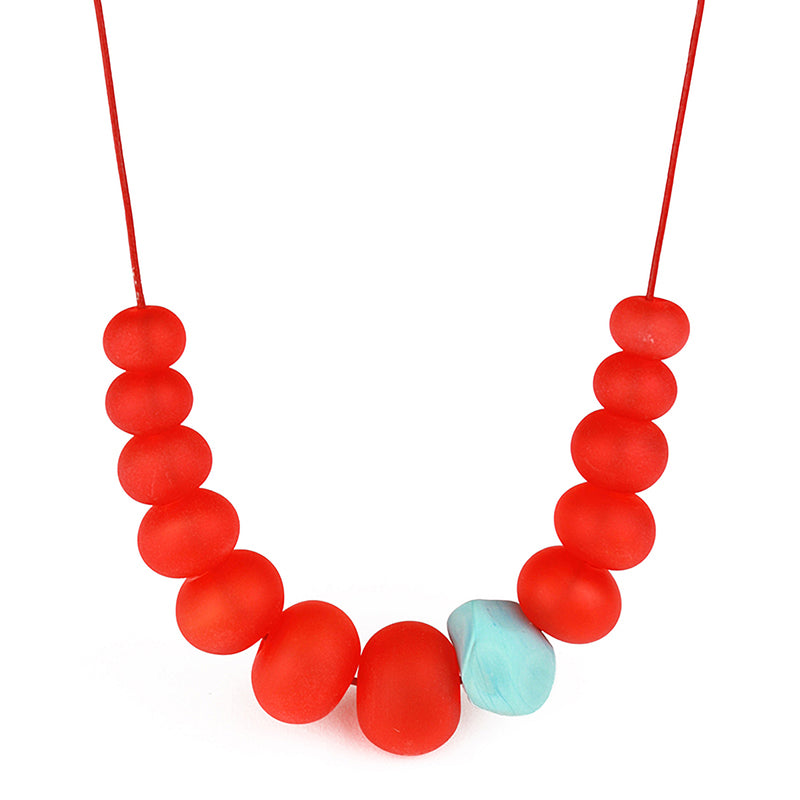 Bubble and nugget necklace - red and turquoise