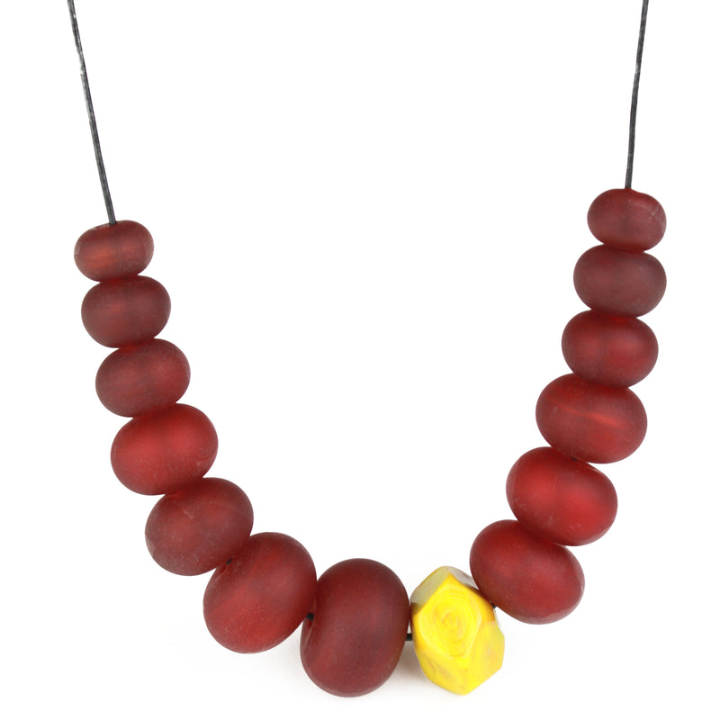 Bubble and nugget necklace - deep red and ochre yellow