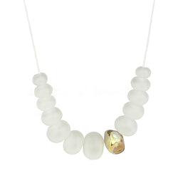 Bubble and nugget necklace - soft white and gold