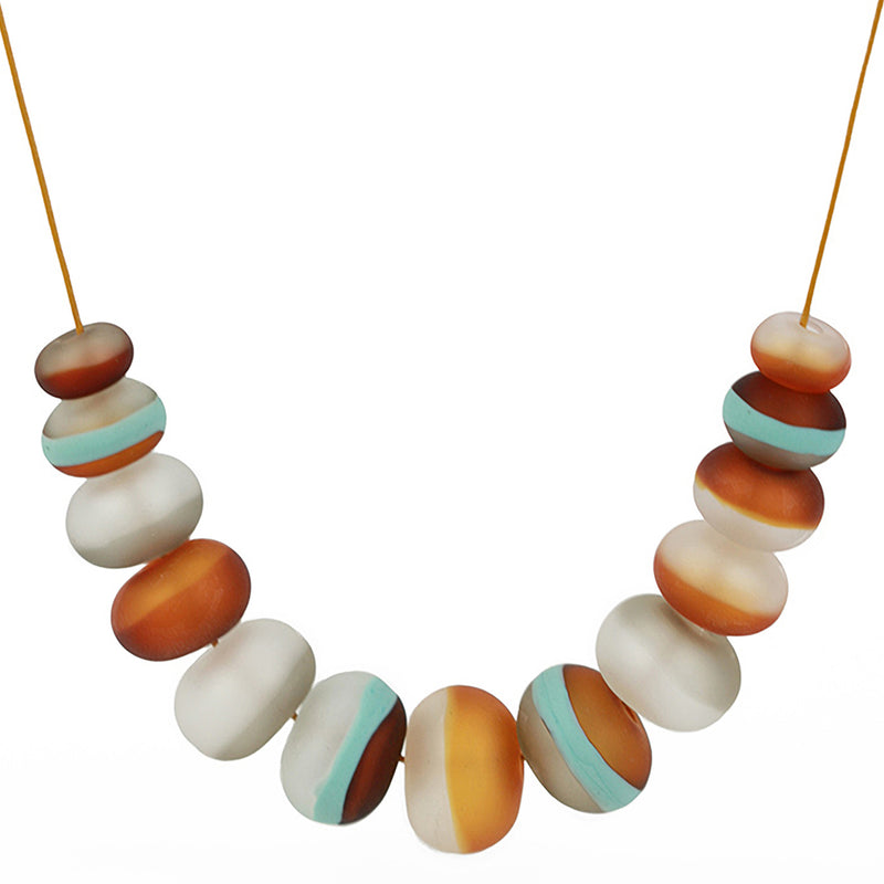 Soft stripes necklace -white, grey, amber and blue