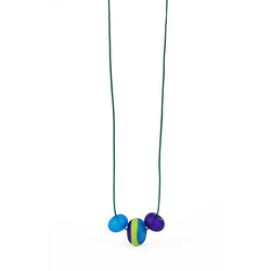 Soft stripes trio necklace -blues and greens