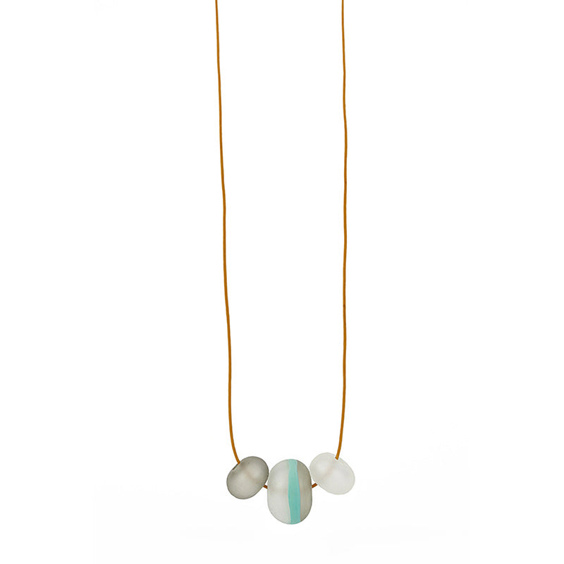 Soft stripes trio necklace -white, grey and blue