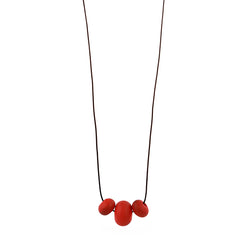 Bubble bead trio necklace -red