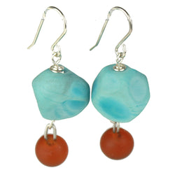 Nugget and charm earrings - turquoise and amber