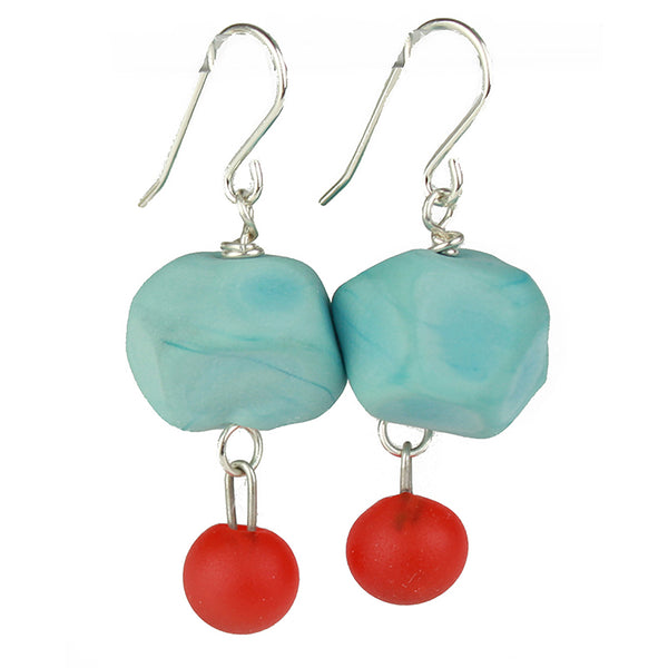 Nugget and charm earrings - turquoise and cherry red