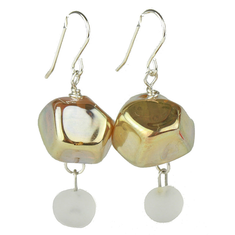 Nugget earrings featuring hand crafted gold glass hand faceted beads with a small white glass charm