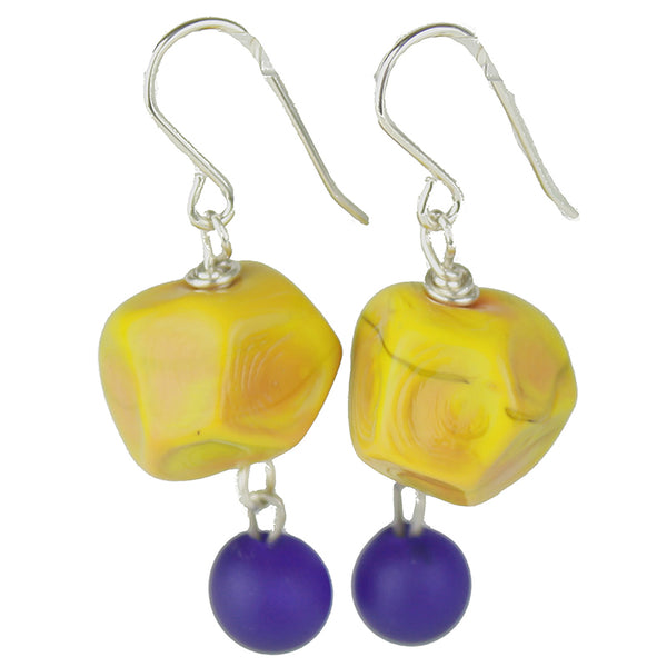 Nugget and charm earrings - ochre yellow and cobalt blue