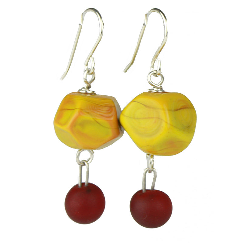 Nugget and charm earrings - ochre yellow and deep red