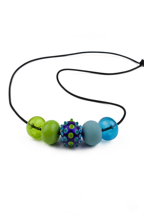 5 bubble bead necklace - blue and green with focal bead -wholesale