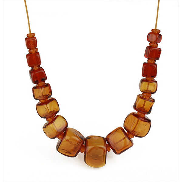 Cube necklace - amber