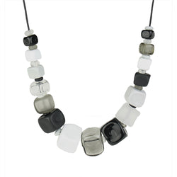 Cube necklace - black, white and gray