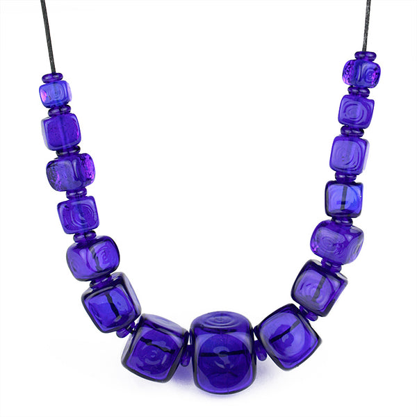 Cube necklace - cobalt blue