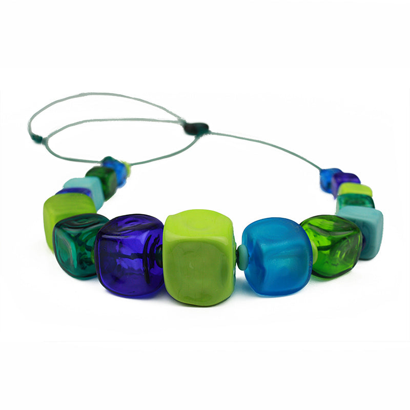 Cube necklace - blue and green