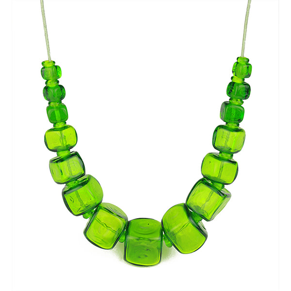 Cube necklace - spring green