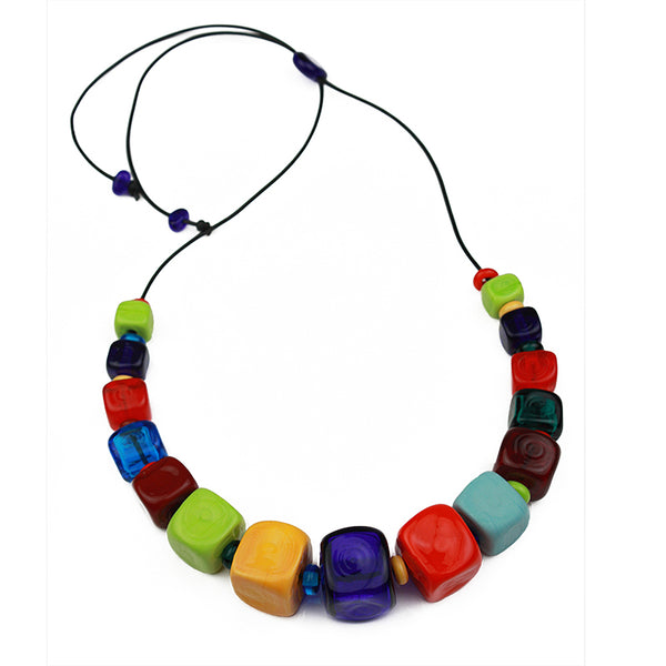 Cube necklace - multi-colors