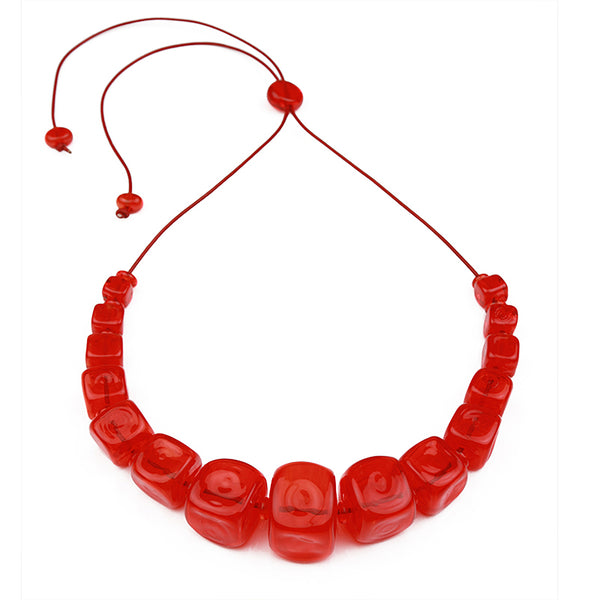 Cube necklace - cherry red