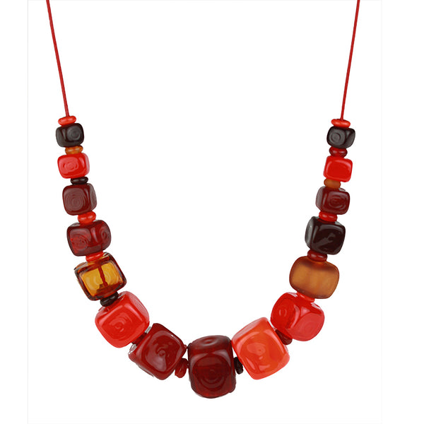 Cube necklace - mixed shades of red and orange