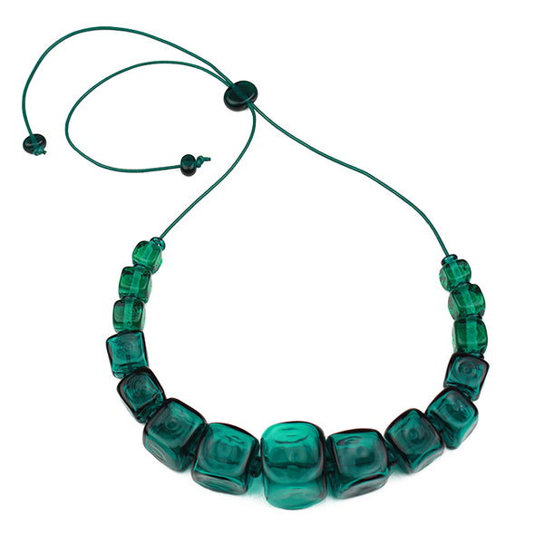Cube necklace - teal