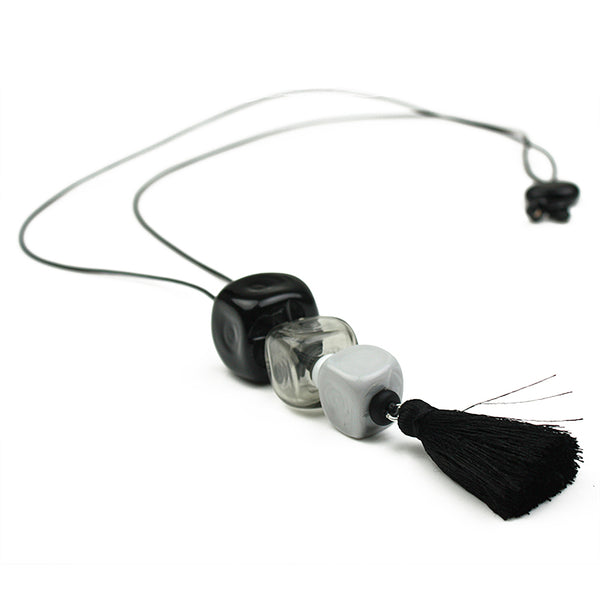 Trio cube necklace - black, white and gray