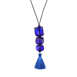 Trio cube necklace - cobalt blue