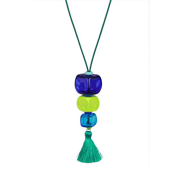 Trio cube necklace - blues and greens