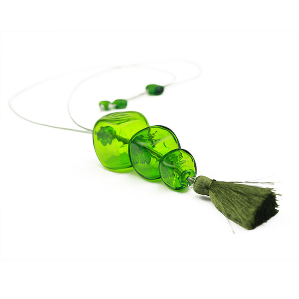 Trio cube necklace - spring green