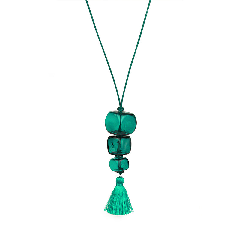 Trio cube necklace - teal