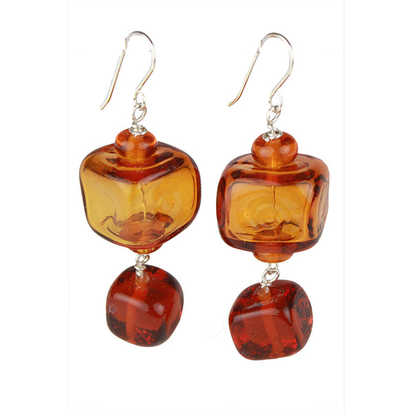 Cube earrings - amber