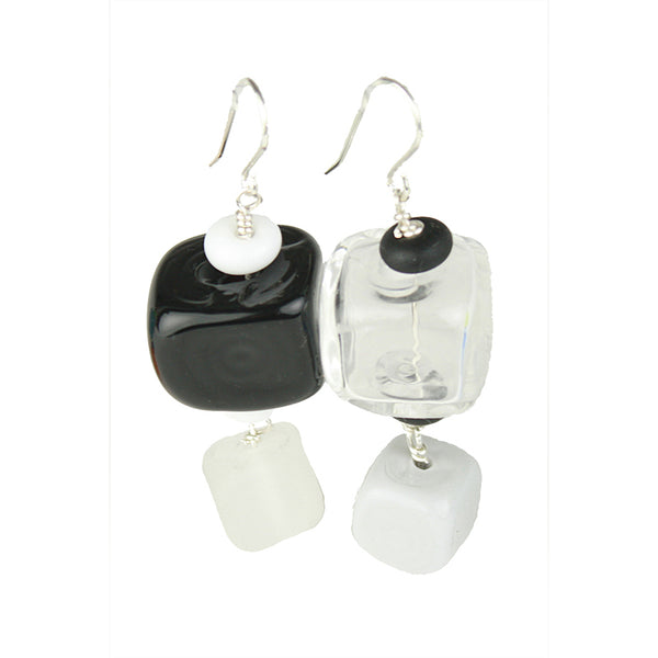Cube earrings - black, white and gray