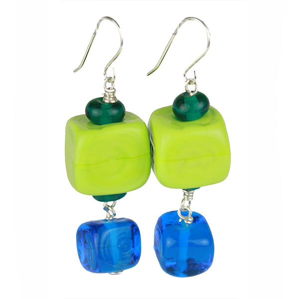 Cube earrings - green, blue and teal