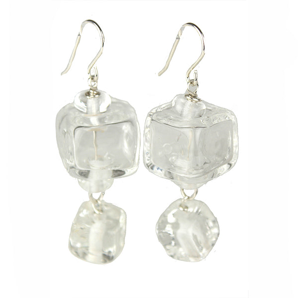 Cube earrings in sterling sterling silver and hand crafted crystal clear glass beads