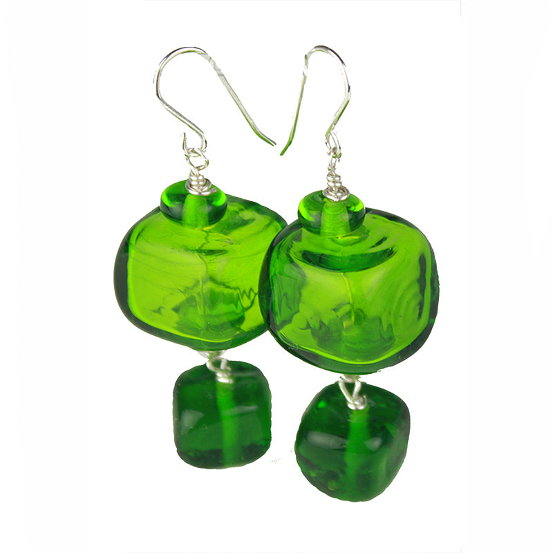 Cube earrings - green